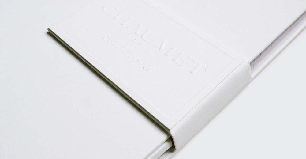 Portfolio book design for Chaumet Paris Hortensia collection close up