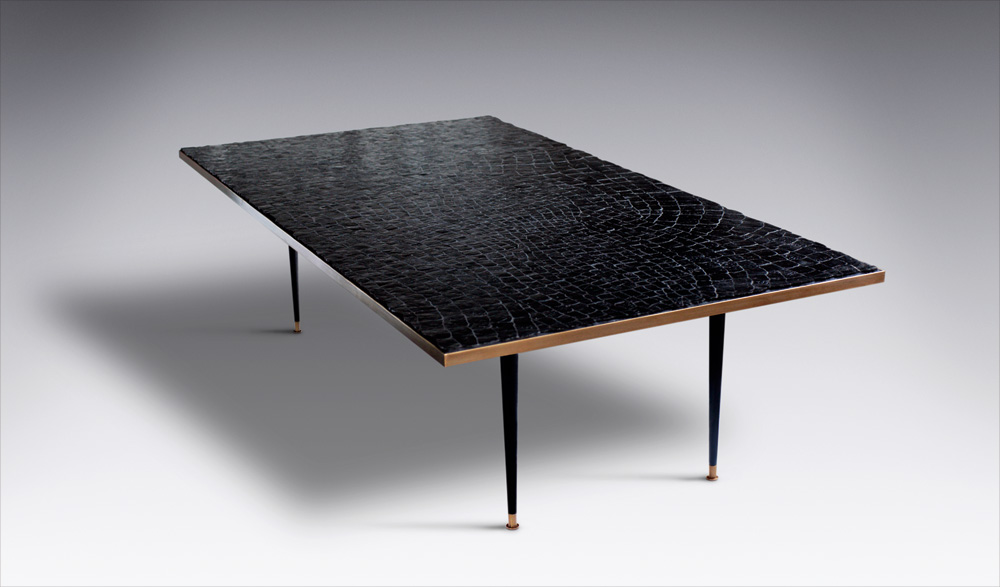 Custom furniture design luxury large black crocodile table