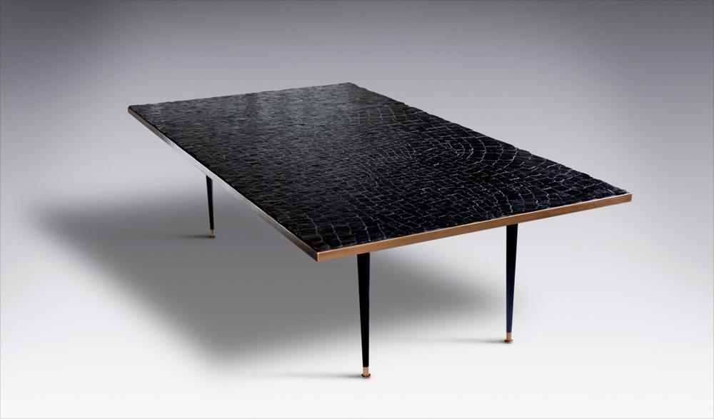 Custom furniture design luxury large black crocodile table