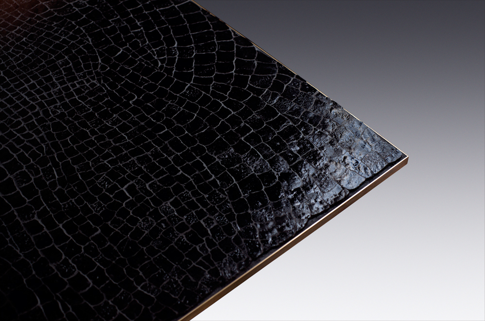 Custom furniture design luxury large black crocodile table close up