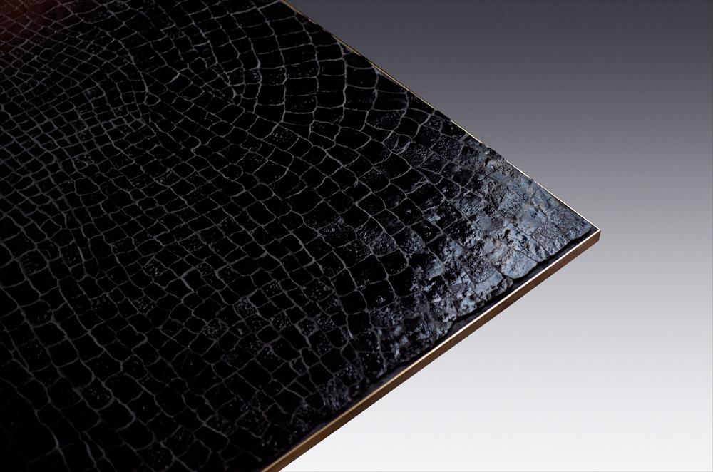 Custom furniture design luxury large black crocodile table close up