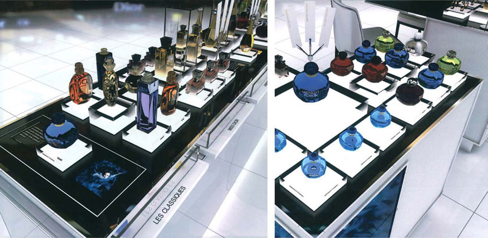 Interior Design for Dior beauty store perfume display