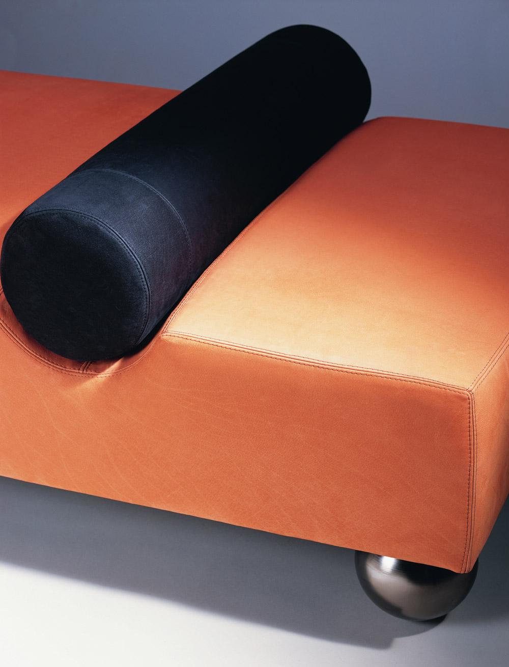 Custom furniture design luxury seating meridienne psy orange black leather close up