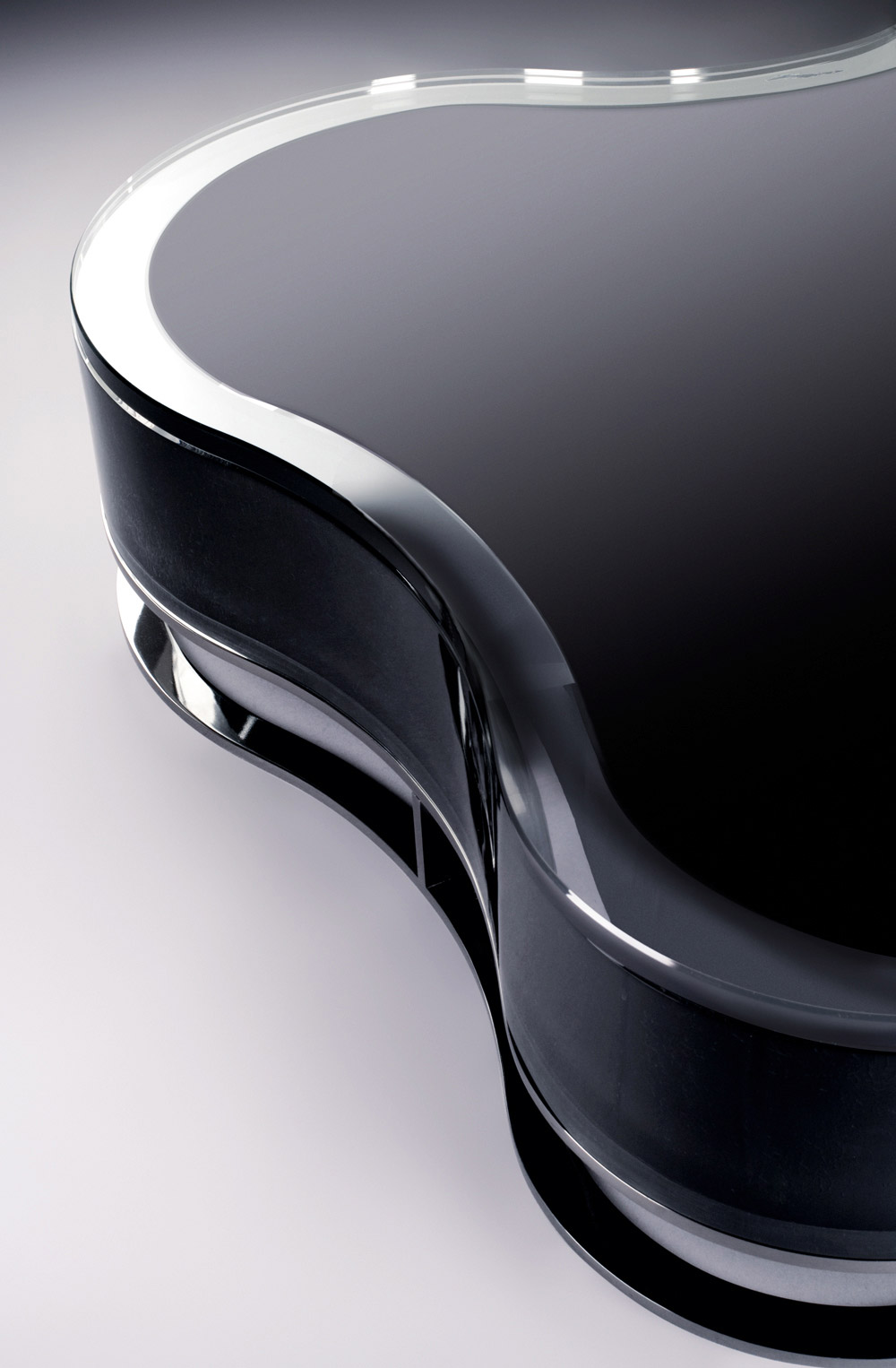 Custom furniture design black glass table close-up