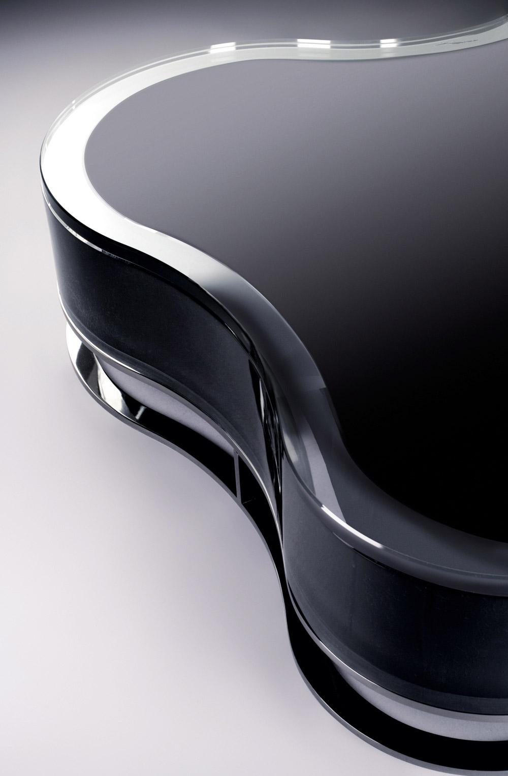 Custom furniture design black glass table close-up