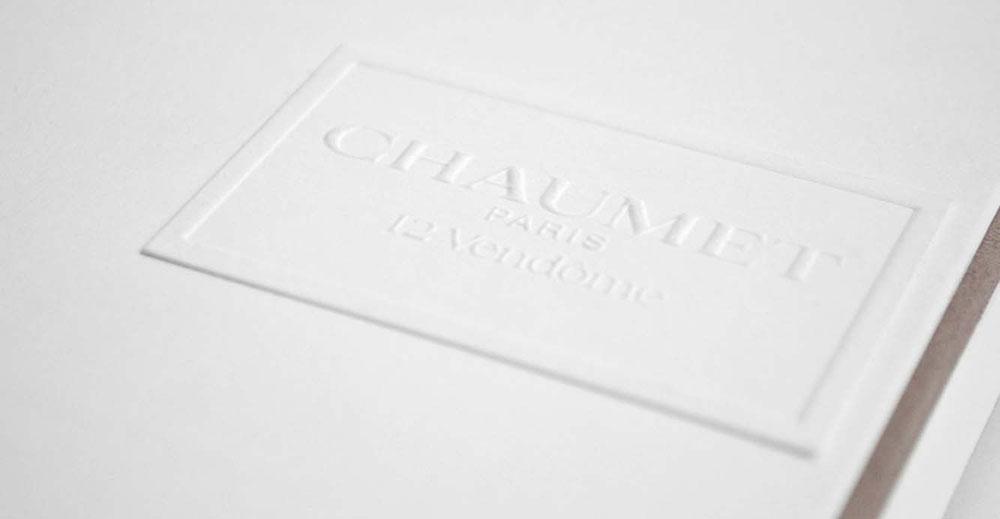 Portfolio book design for Chaumet Paris Limited Edition emboosed logo
