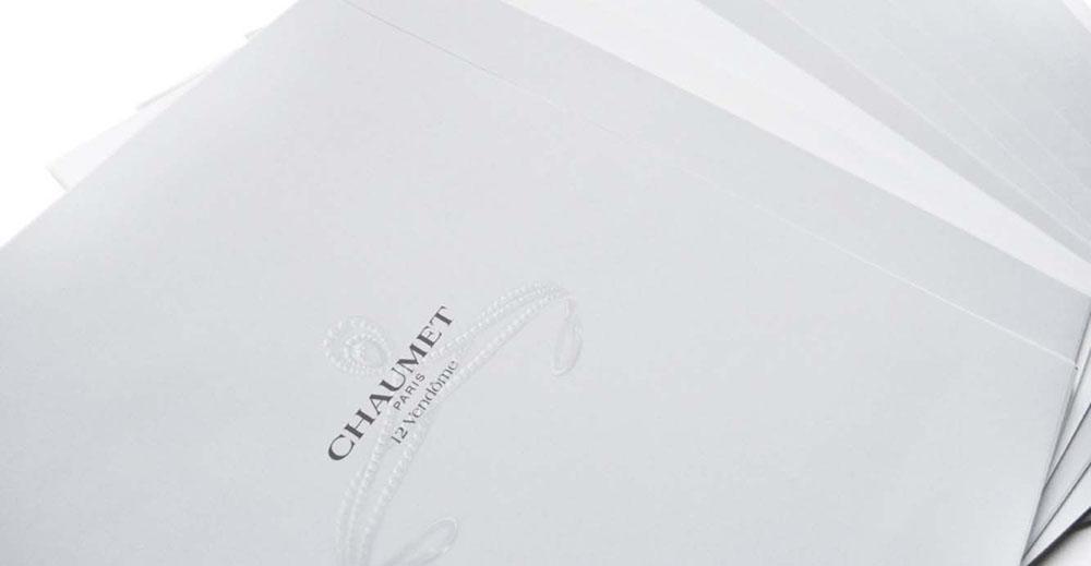 Portfolio book design for Chaumet Paris Limited Edition paper inserts