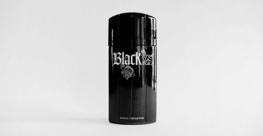 Product Package Design for Paco Robanne Black XS man bottle