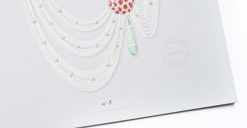 Portfolio book design for Chaumet Paris Limited Edition pearl diamond necklace number 8