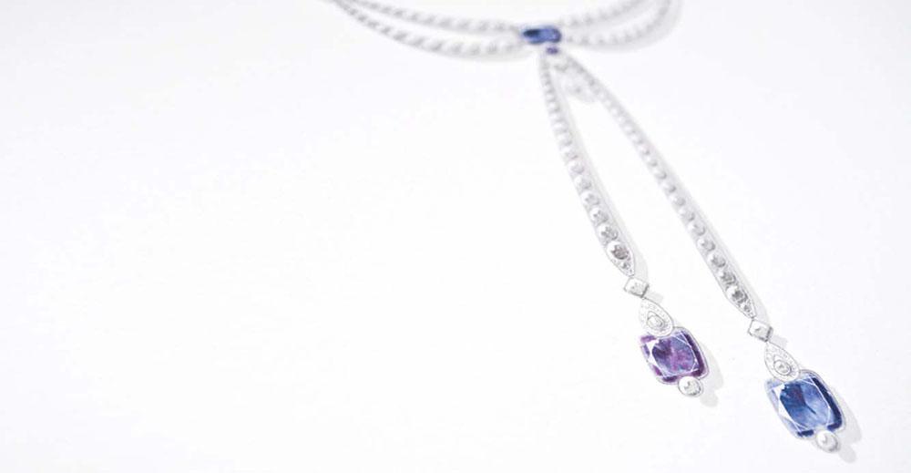 Portfolio book design for Chaumet Paris Limited Edition sapphire necklace lariat