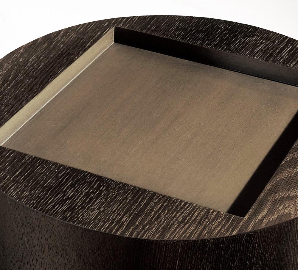 Custom furniture design luxury home decor wood round pedestal table gueridon fut close up