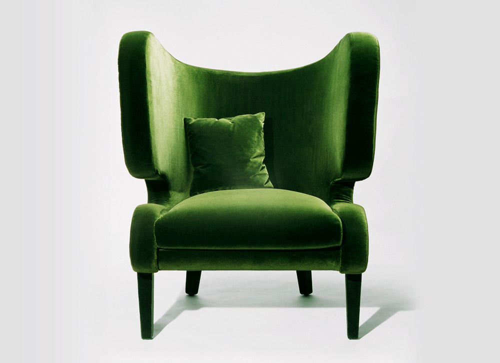 Custom furniture design luxury home decor green fabric fauteuil elephant armchair front view
