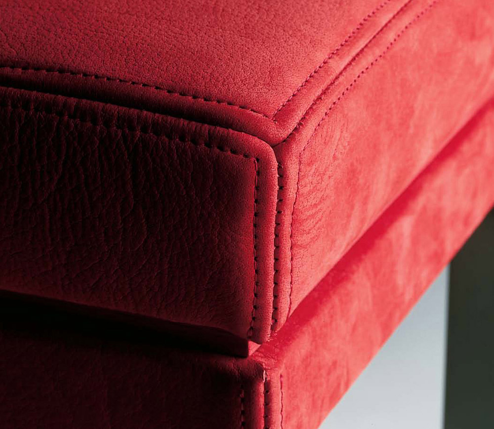 Custom furniture design luxury home decor tabouret nicket red cushion stool with nickel legs close up