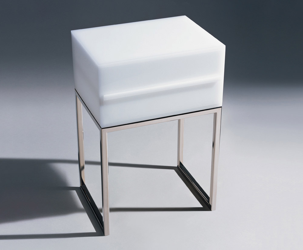 Custom furniture design luxury home decor white plexi chevet air bedside table with drawer