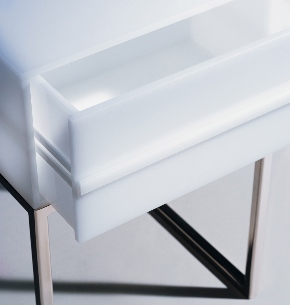 Custom furniture design luxury home decor white plexi chevet air bedside table with drawer close up