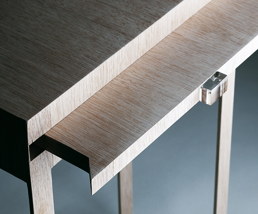 Custom furniture design luxury home decor wood chevet double peau wood bedside table close up
