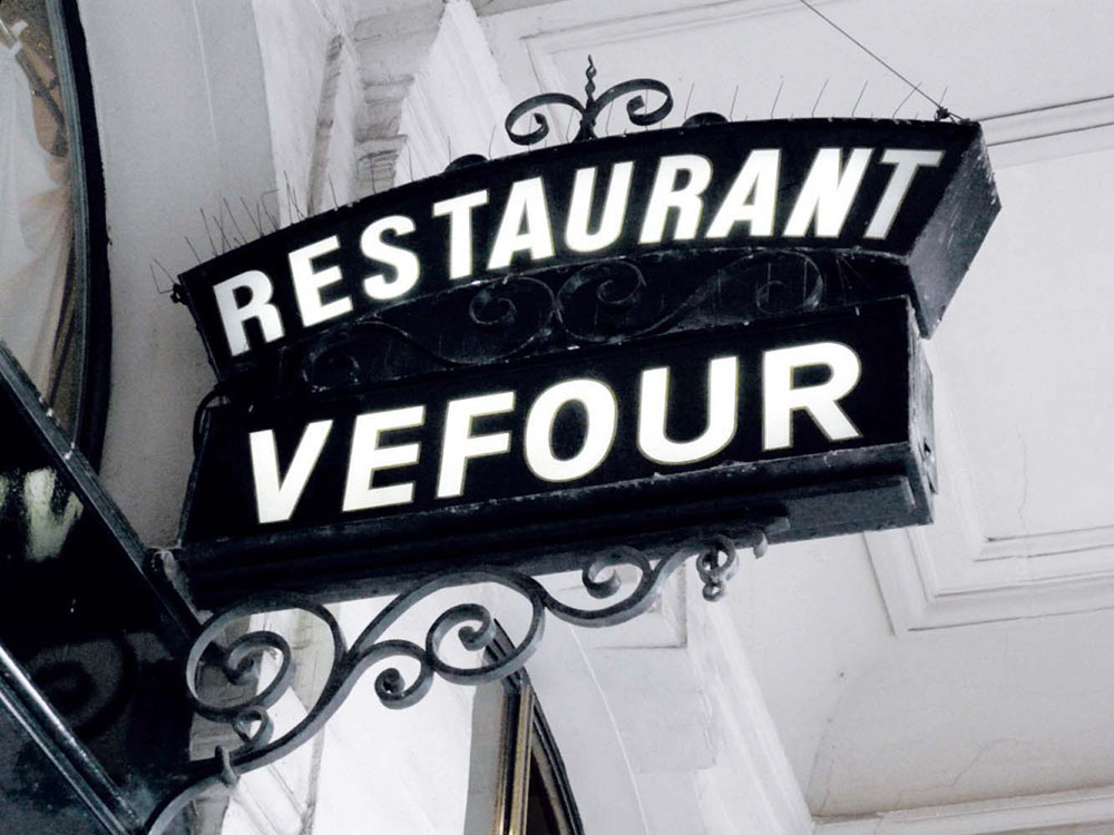 Interior Design for Restuarant Vefour street side signage