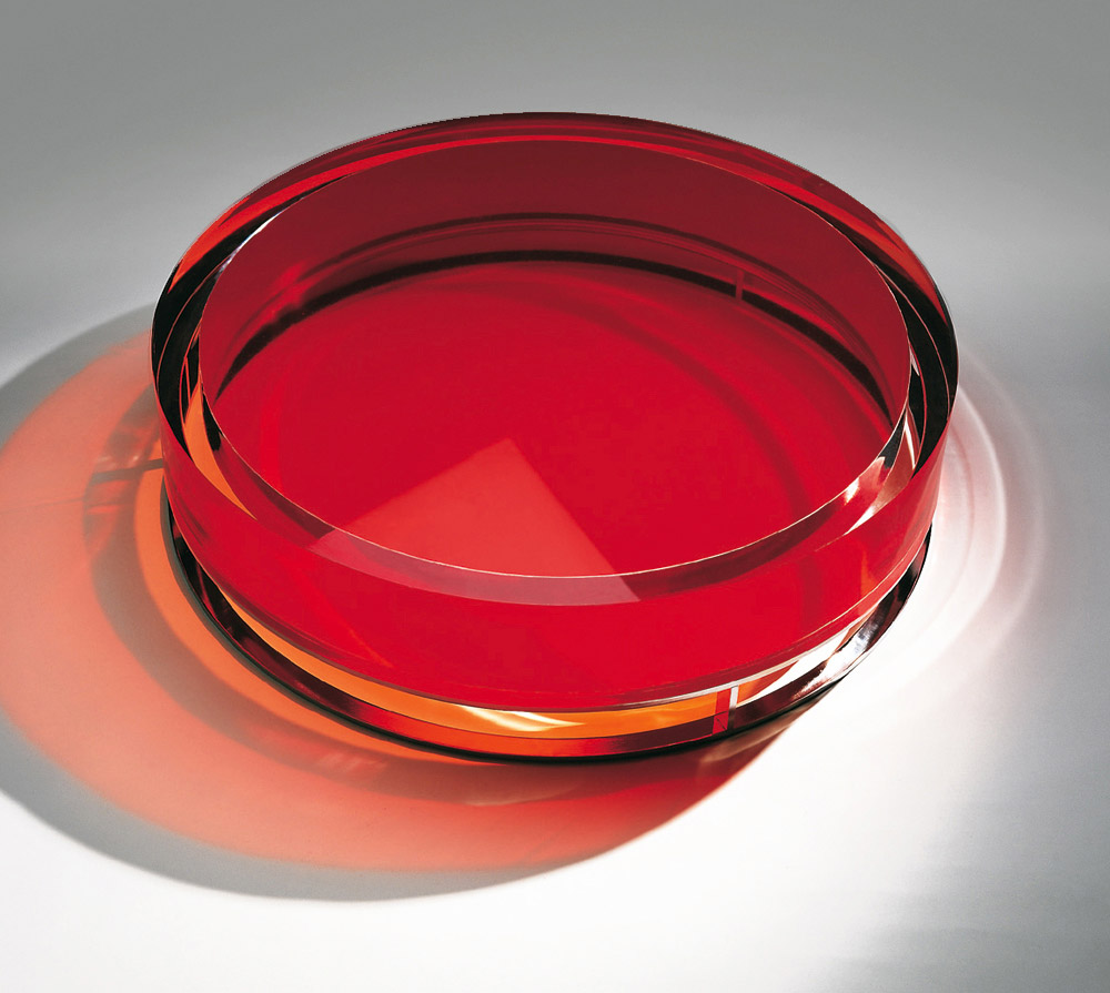 Custom furniture design luxury home decor table pastille red glass table