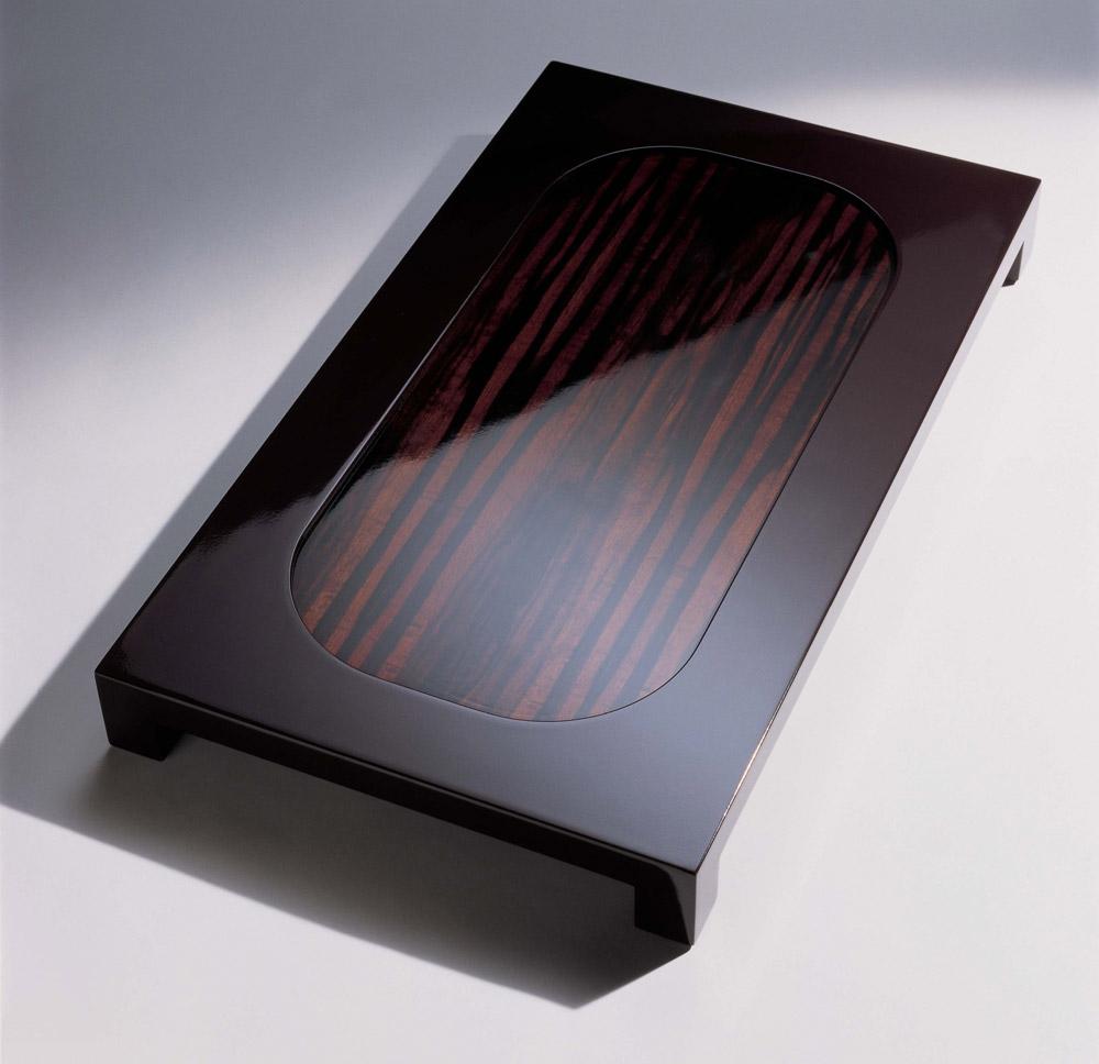 Custom furniture design plateau double peau precious wood coffee table