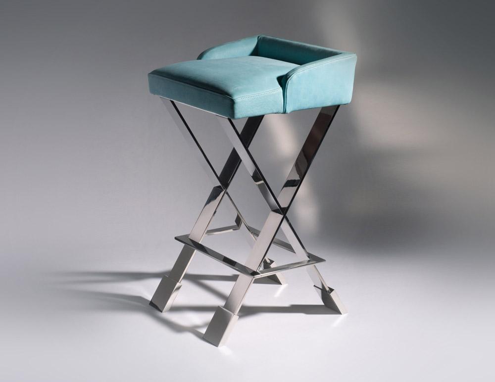 Custom furniture design luxury home decor tabouret 19 leather with metal legs stool