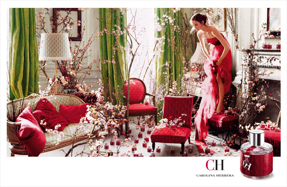 Brand Visual Advertising for Carolina Herrera fragrance CH woman Tim Walker cherry blossoms
