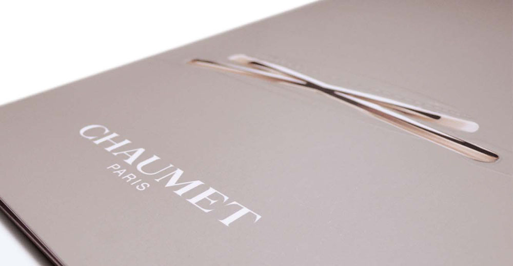 Portfolio book design for Chaumet Paris Liens de Chaumet watch collection cover