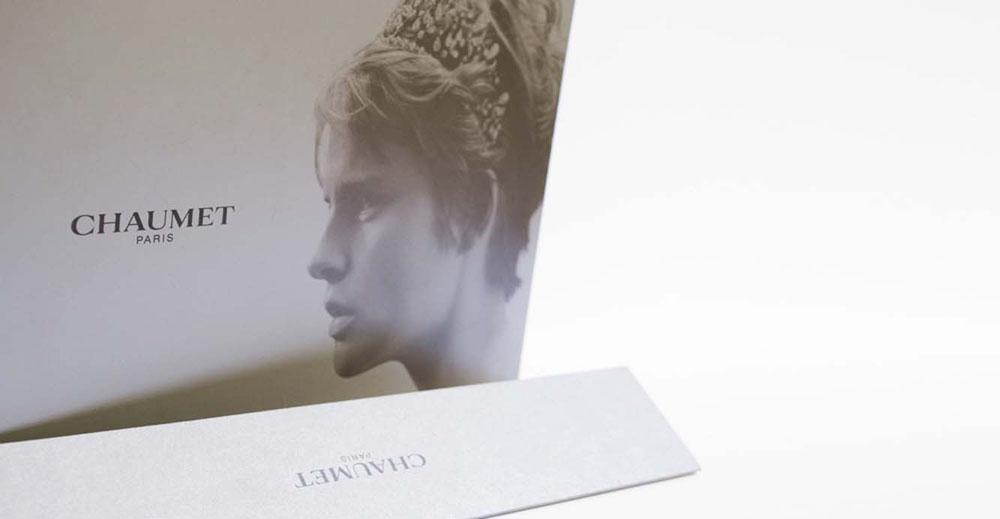 Printed brand materials Chaumet Paris card envelop Stella Tennant